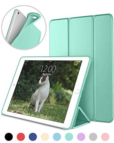 DTTO iPad Mini4 ケース 生涯保証 TPU ソフト 超薄型 超軽量 PUレザー スマートカバー 三つ折り スタンド スマートキーボード対応 キズ防止 指紋防止 [オート スリープ/スリープ解除] ミントグリーン