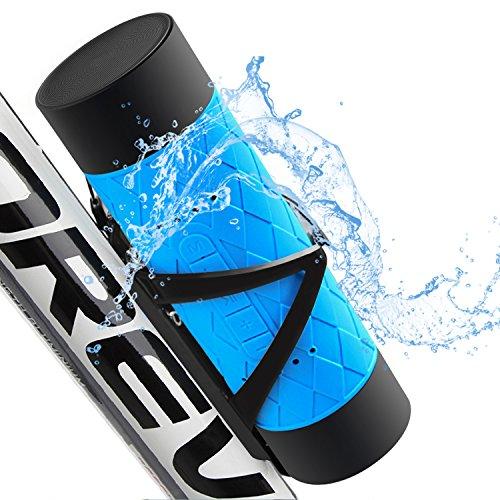 防水bluetoothスピーカー【10W出力/IP65防水防塵レベル/12時間連続再生/マイク内蔵/モバイルバッテリー機能搭載/自転車に最適】iPhone / iPad / Sony / Nexus / Android各種対応(ブルー)