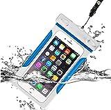 完全防水 ケース 6インチ以下全機種対応 クリア スマホ 防水ケース 海 お風呂 旅行 水中撮影 等必需品 ネックストラップ & アームバンド 付き iPhone と Android その他 (ブルー)