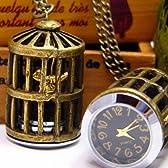 鳥かご 時計 ネックレス アンティークゴールド