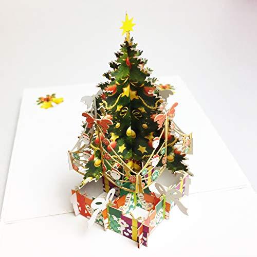 creve 3D 立体 ポップアップ グリーティング カード クリスマスカード クリスマスツリー かわいいイラスト付 クリスマスシール付属