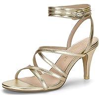Allegra K Women's Cross Front Ankle Strap Heels