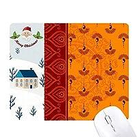 印刷リピートクロスオレンジ色のカラフルなアート サンタクロース家屋ゴムのマウスパッド