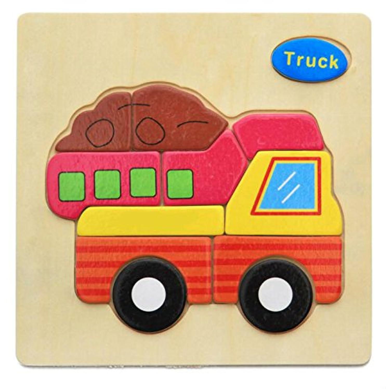 HuaQingPiJu-JP ブランドの新しい木製の教育的なパズルアーリーラーニング番号の形の色の動物のおもちゃキッズ(トラック)のための素晴らしいギフト