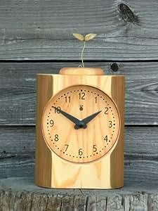 「キコリの時計」 木の振子時計 【芽がでた時計】