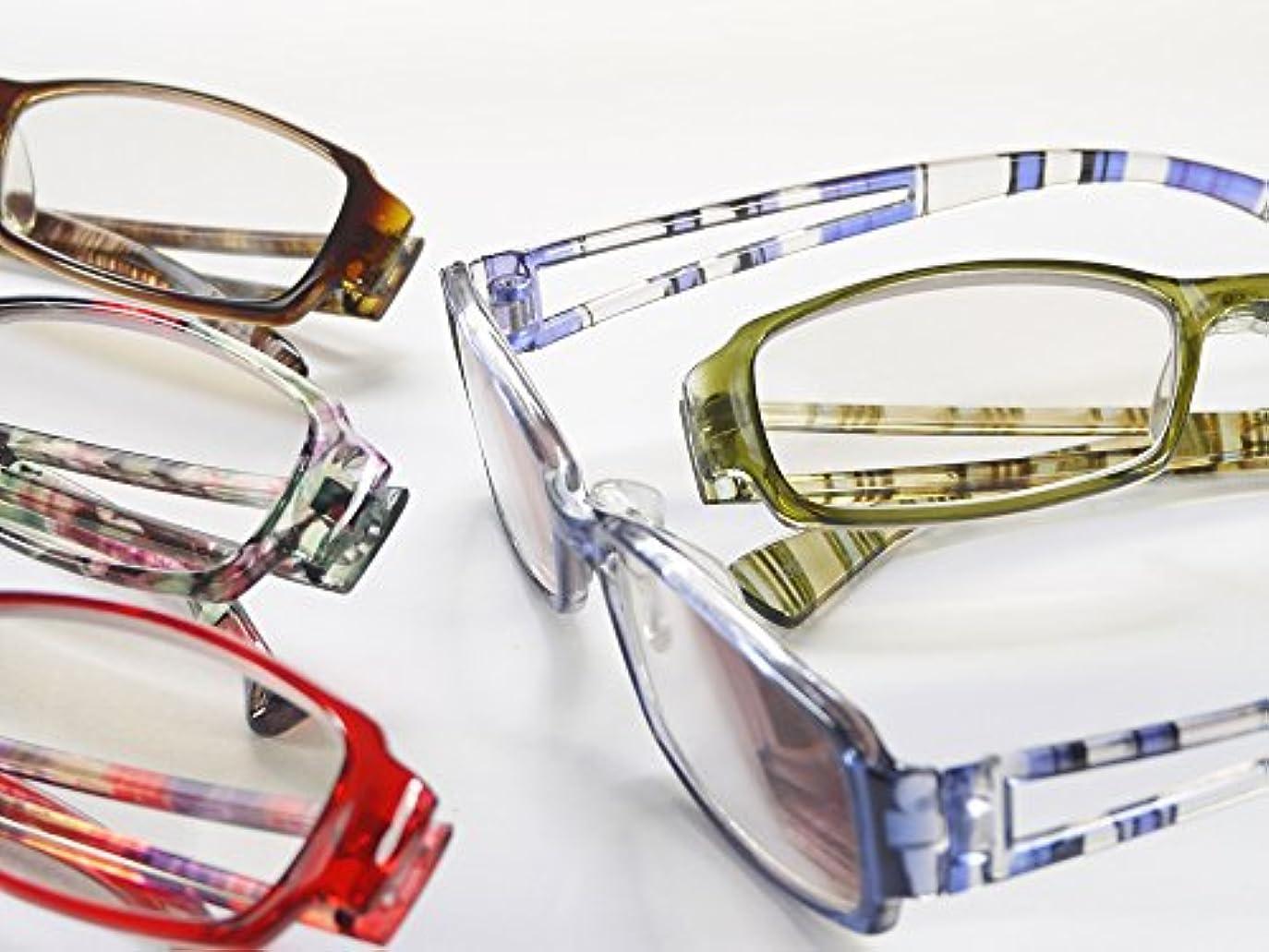 老眼鏡 おしゃれPC用老眼鏡 UV&ブルーカット おしゃれな男性用?女性用 2103PC (+4.00, ブルー)
