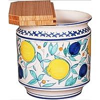 茶道具商 左座園 イタリア 果実模様 水屋瓶(杉割蓋付)