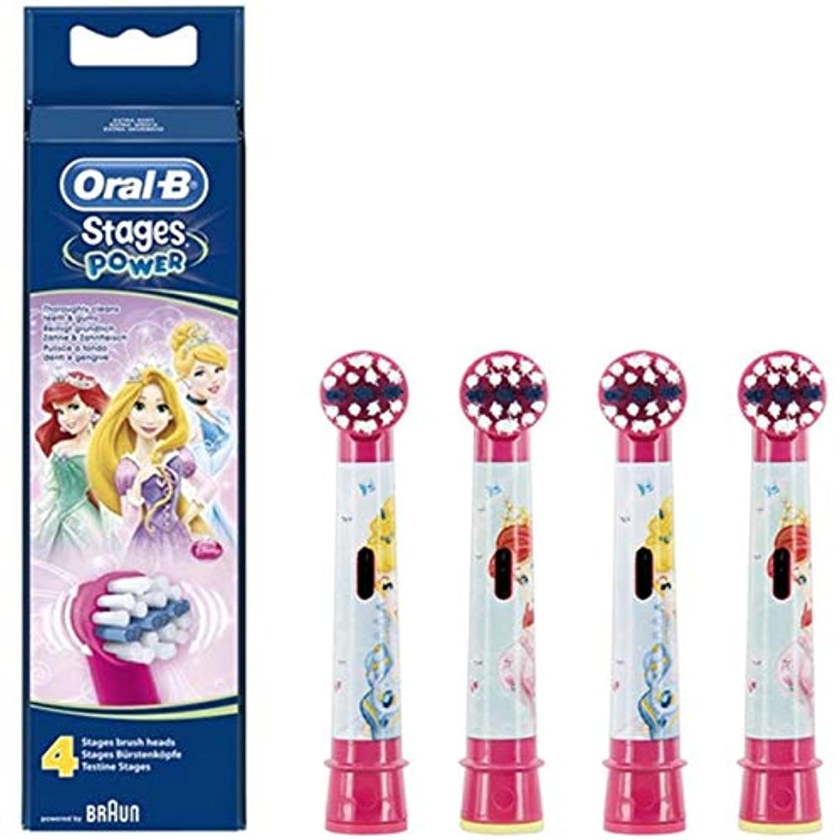 レオナルドダさようならゲストブラウン オーラルB 電動歯ブラシ 子供用 EB10-4K すみずみクリーンキッズ やわらかめ 替ブラシ(4本) ピンク ディズニープリンセス [並行輸入品]