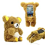 GEARONIC TM New 2016 3D Cute Doll Toy Cool Plush Teddy Bear Cover Shockproof Dirt Dust Proof Case For Apple iPhone SE 4 4S 4G 5 5S 5C [並行輸入品]
