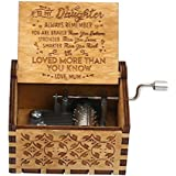 TOOGOO Wooden Music Box Mom to Daughter -You are My Sunshine Engraved  Hand-Cranked Wooden Music Box Sunlight Crafts