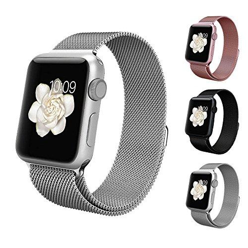 BRG apple watch バンド,ミラネーゼループ アップルウォッチバンド アップルウォッチ1 apple watch series 2 ステンレス留め金製(42mm,シルバー)18か月保証付き