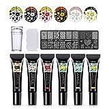 Mobray 6 Colors Nail Art Stamping Gel Polish Kit 8ml with Nail Stamp Plate Nail Art UV Gel Polish for 36 Design Scraper Nail Plate Print Manicure Tool (Kit 2)