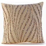 Handmade Beige Decorative Cushion Cover, Metallic Sequins & Beaded Glitter Cushions Cover, Cushion Covers 45 x45, Square Silk