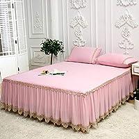 夏のベッドのスカートの枕カバースリーピース、簡単で優雅なレースの寝具,D