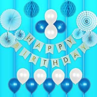 誕生日 飾り付け 男の子 バルーン HAPPY BIRTHDAY ガーランド バースデー ペーパーフラワー フラッグガーランド 240㎝ 特大 (▽垂無, ブルー)