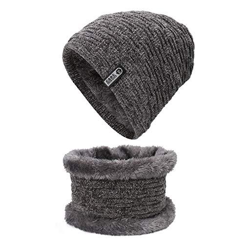 Leefeng ニット帽 ネックウォーマー セット おしゃれ 裏起毛 暖かい 防寒 自転車 バイク スキー 冬用 男女兼用 グレー