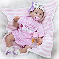 Pursue Baby Lifelikeベビー人形ファッションガール、青い目布ボディWeighted新生児赤ちゃん22インチビニール人形のギフト