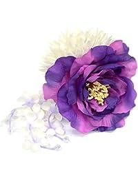 花髪飾り クリップ【カメリア&マム 枝垂れ/パープル 紫×白 14152】