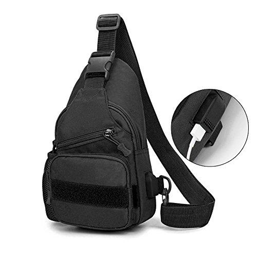 BIAL USB付き ワンショルダーバッグ メンズ レディース 斜めがけバッグ デイパック 防水 小型 人気 アウトドア おしゃれ バックパック ナイロン製 3WAY