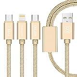 KOVOL 3in1 USBケーブル USB-A to Micro USB + Lightning + Type C 急速充電 データ転送 iOS&Androidなど多様の機種対応