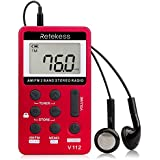 Retekess V-112 Radio Portable Radio Pocket Handy Radio AM FM Radio Stereo Radio Digital Tuning with Earphone Pocket Mini Small Radios Rechargeable Battery LCD Display for Walk (Red)