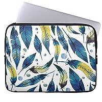 Recaso(レカソ)ファッション 17/17.3/17.4インチノートPCスリーブ ネオプレン製 男女兼用 タブレット・ラップトップ インナーバッグ 水彩画の青い鳥羽パターン
