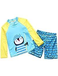 [Haiyishan]ラッシュガード 男女兼用 水着 長袖 2点セット 長袖トップス パンツ スイムウェア キッズ水着 UVカット プール 七種色 2タイプ