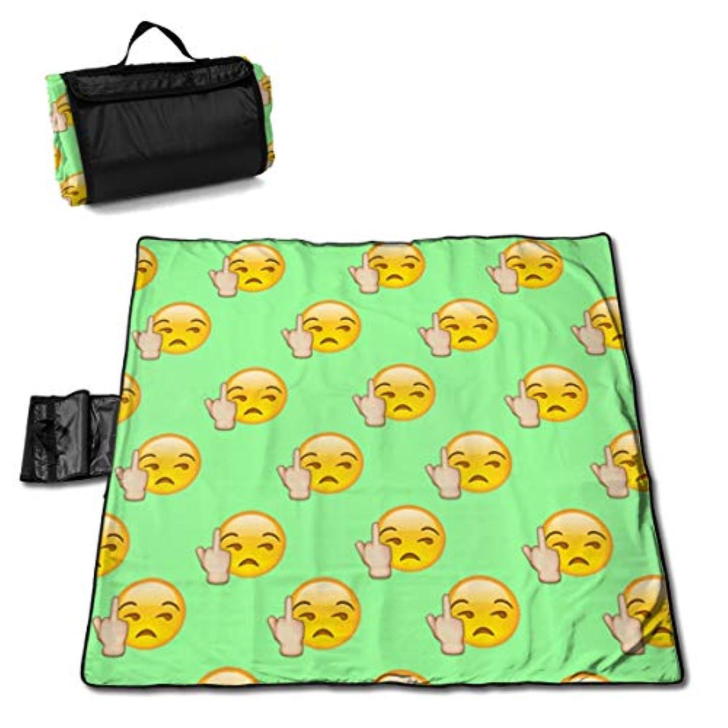 色適切なバケットQQ LOVE 絵文字 中指 レジャーシート ピクニックシート 厚手 レジャーマット 折り畳み 150*145 Cm