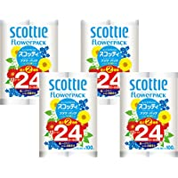 【ケース販売】 スコッティ フラワーパック 2倍巻き トイレット12ロール 100mシングル ×4パック入り