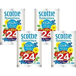 【ケース販売】 スコッティ フラワーパック 2倍巻き 12ロール シングル(114mm×100m) ×4パック