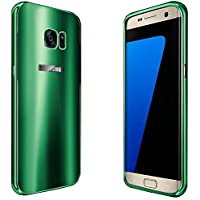 YATATECH Samsung Galaxy S7 Edgeケースカバー+アルミニウム メタル フレームバンパー 耐震 衝撃吸収 強化PC アンチスクラッチ 超高級感 超薄鏡面 ミラー オシャレ 防塵 ギャラクシー S7エッジ専用バックケース(緑色)