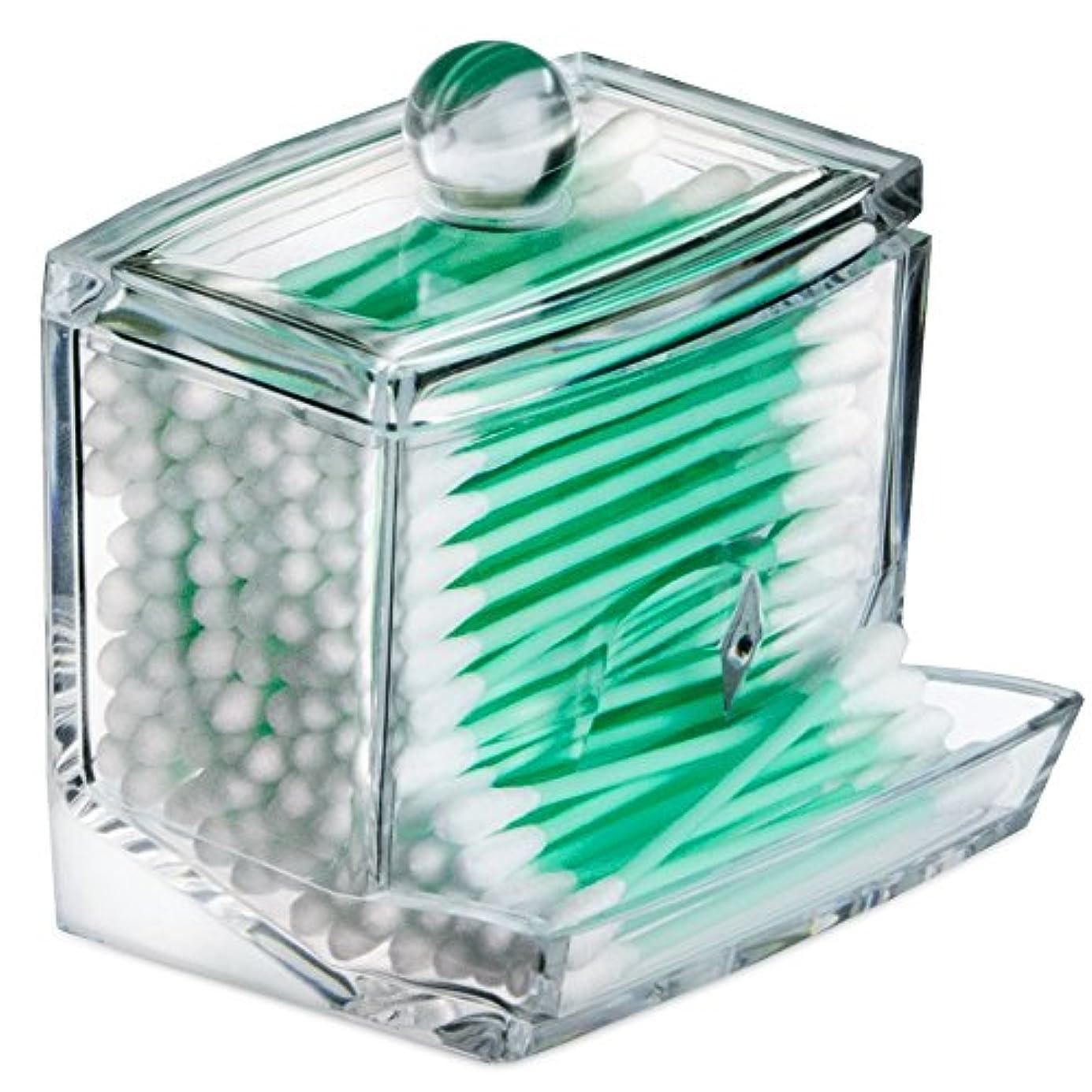 岸政府パワーセルSTARMAX 棉棒ボックス 透明 アクリル製 フタ付き 防塵 清潔 化粧品小物 収納ケース 綿棒入れ 小物入れ 化粧品入れ コスメボックス (9cm*7cm*7.5cm)