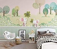 壁紙不織布プレミアム壁の壁画装飾アートプリントポスター写真写真モダン装飾マウスの森の漫画写真リビングルーム保育園の寝室の家の装飾350cm x 256cm