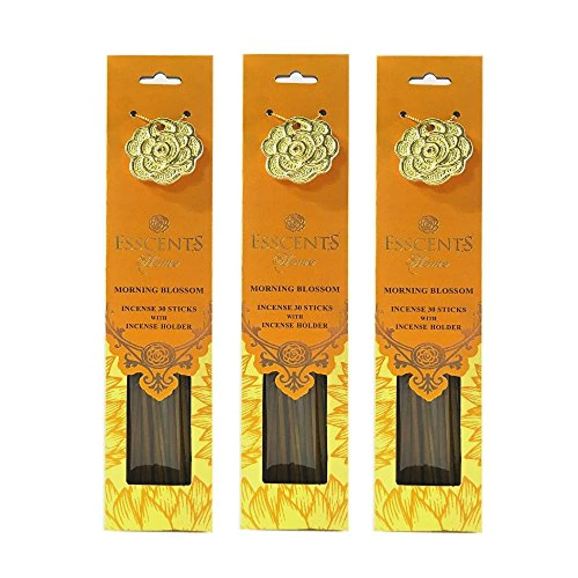 Esscentsホーム90 SticksプレミアムIncense with 3メタルIncense Holders – Morning Blossom