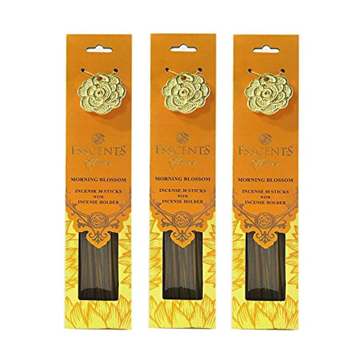 怪しい花火消毒剤Esscentsホーム90 SticksプレミアムIncense with 3メタルIncense Holders – Morning Blossom