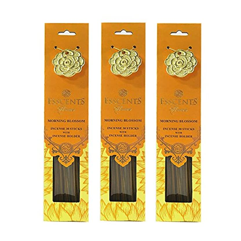 履歴書財政交じるEsscentsホーム90 SticksプレミアムIncense with 3メタルIncense Holders – Morning Blossom