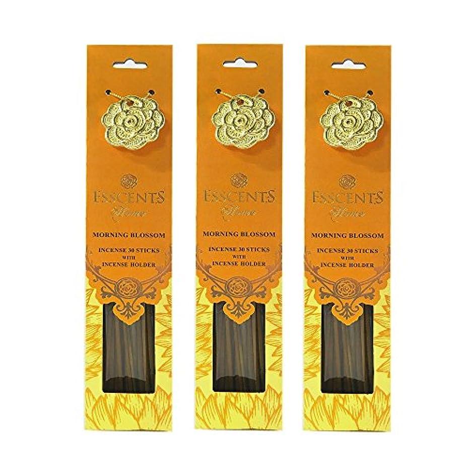 静かな最大の収容するEsscentsホーム90 SticksプレミアムIncense with 3メタルIncense Holders – Morning Blossom