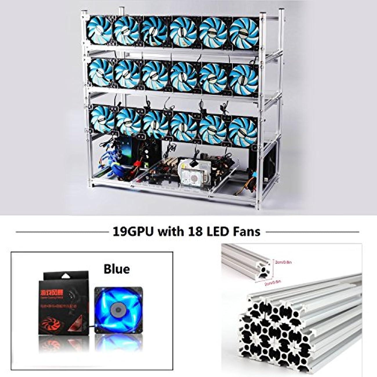 完璧な公器官19 GPU MiningリグアルミStackable Case with 18 LEDファンOpen AirフレームMinerキットfor Eth / ZEC / Bitcoin / decred / Z現金 RuiXinFeng