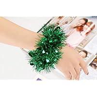 HuaQingPiJu-JP ダンスショーの小道具のスパンコール手首の花のゴムバンドクリンピングの花のブレスレット_緑