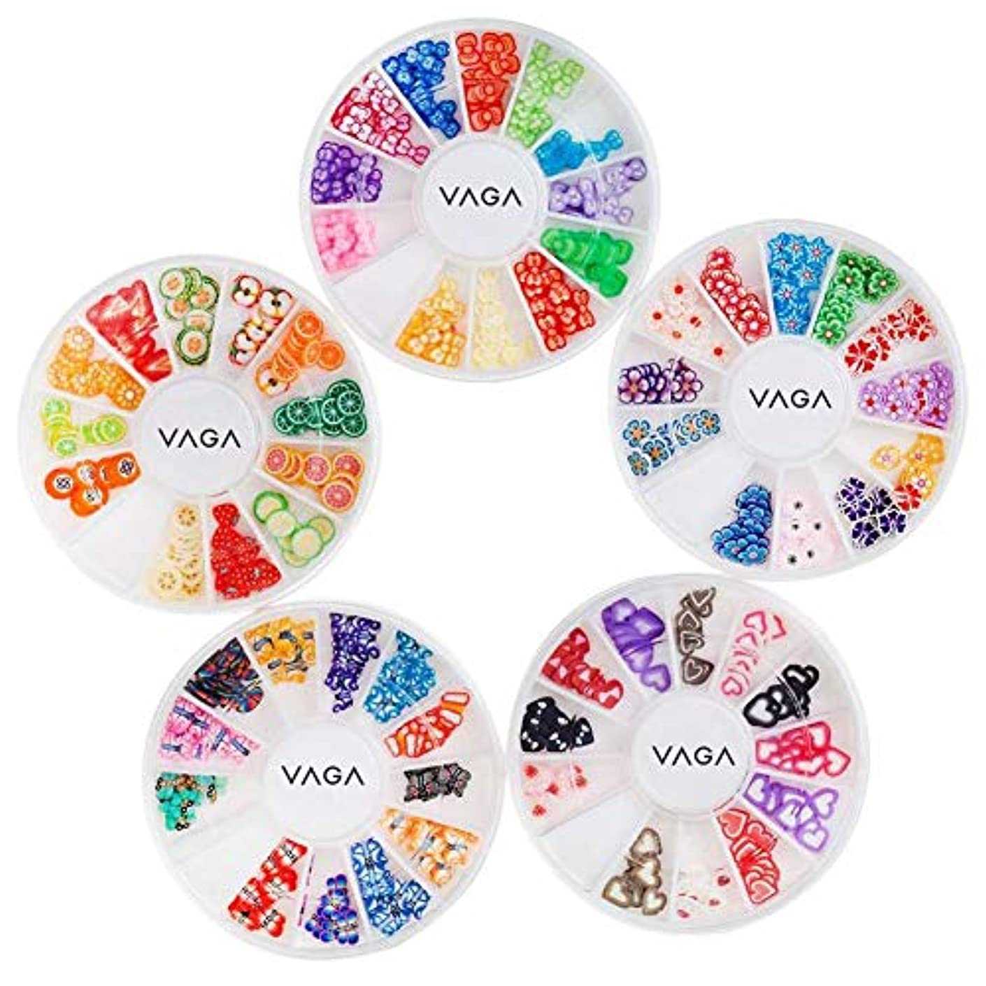5高品質マニキュア3Dネイルアートデコレーションホイールのアメージングバリューセットキットは、心、動物、フルーツ、蝶、花のパターン/形状と多くの異なる色でフィモスライス/デカールピースとホイール
