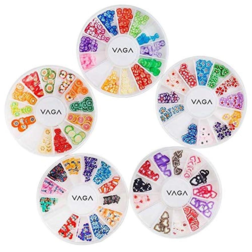 野心バケツリットル5高品質マニキュア3Dネイルアートデコレーションホイールのアメージングバリューセットキットは、心、動物、フルーツ、蝶、花のパターン/形状と多くの異なる色でフィモスライス/デカールピースとホイール