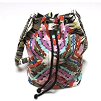 【Swaraj Bag】刺繍ジャガード巾着バッグ-BLACK