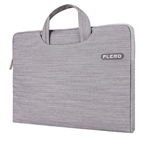 PLEMO デニム生地 PCスリーブ 13-13.3インチ ブリーフケース PCバッグ (グレー)