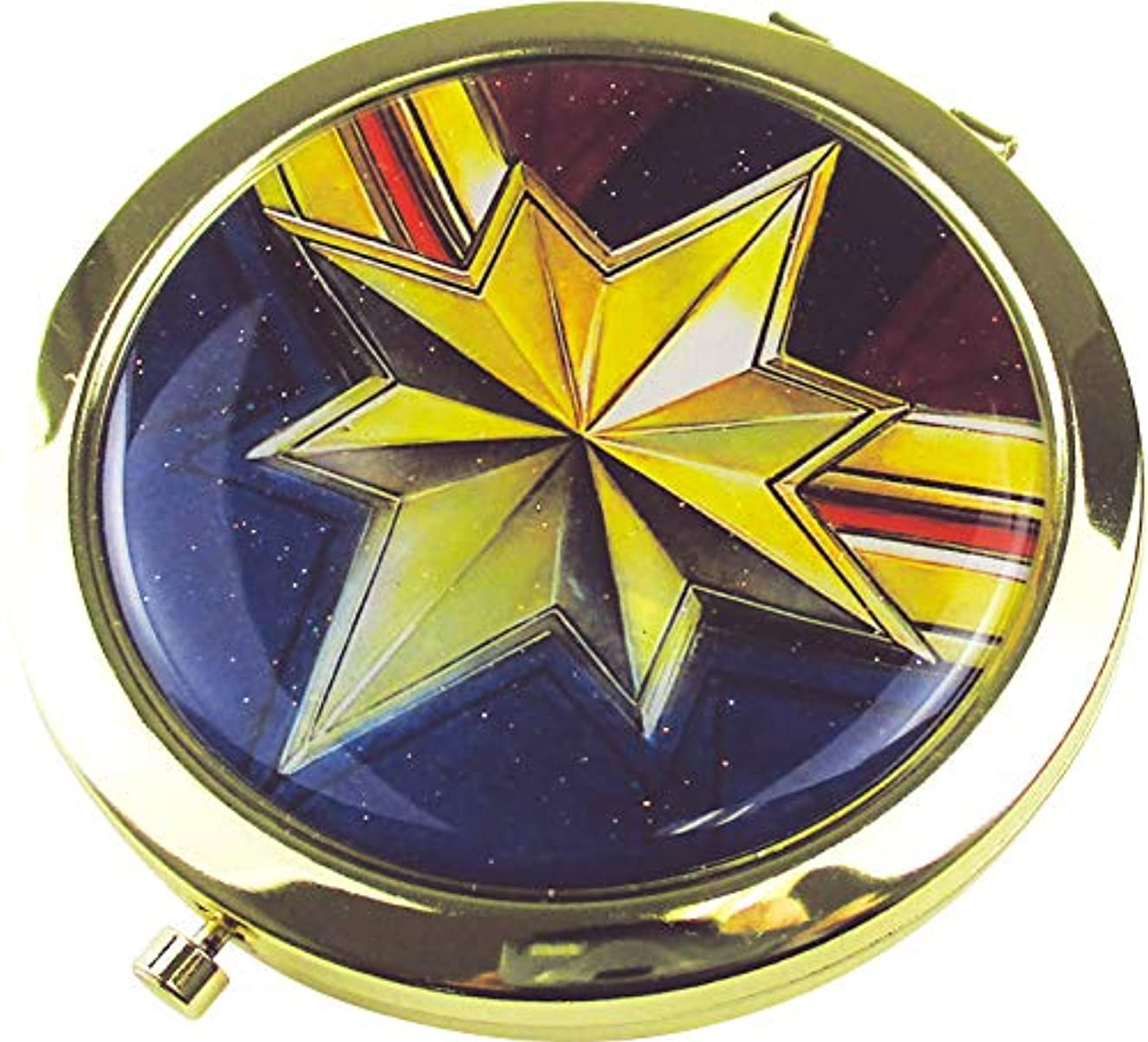雑草サリー混沌ティーズファクトリー Wコンパクトミラー マーベル キャプテン?マーベル 6.6×6.6×0.8cm MV-5537086CM
