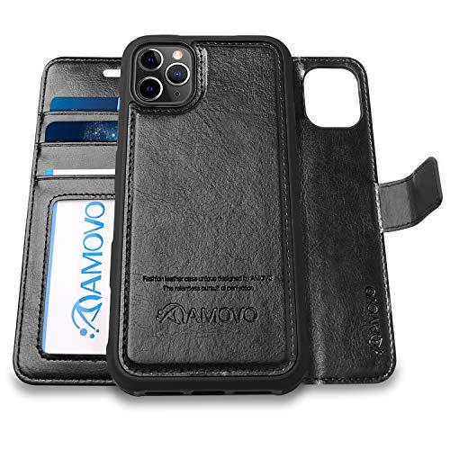 AMOVO iPhone 11 Pro ケース 手帳型 分離式 マグネット 取り外し自由 ワイヤレス充電に対応 カード収納 横開き スタンド機能 アイフォン 11 Pro 手帳カバー (iPhone 11 Pro 5.8インチ,黒)
