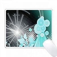 ターコイズブルー、ホワイト、ブラックキラキラ光るストリーマとサークル抽象的な PC Mouse Pad パソコン マウスパッド