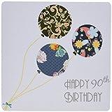 3drose Happy 90th Birthday–モダンスタイリッシュな花柄バルーンエレガントブラックブラウンブルー–誕生日90年古いマウスパッド