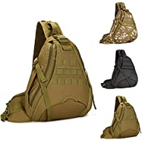 Tactical Shoulder Bag, WOTOW Military Molle Crossbody Sling Daypack Laptop Outdoor Commuter Backpack for Hunting Camping Riding Trekking travelling (Brown))