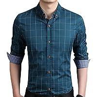 Aiyino Men's 100% Cotton Long Sleeve Plaid Casual Shirts Slim Fit Button Down Checked Shirt