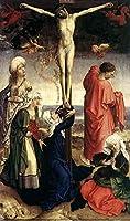 ¥5K-200k 手書き-キャンバスの油絵 - 美術大学の先生直筆 - 17 名画 - Crucifixion 宗教画 Rogier van der Weyden 宗教画 キリスト教的 - 絵画 洋画 手描複製画 -01
